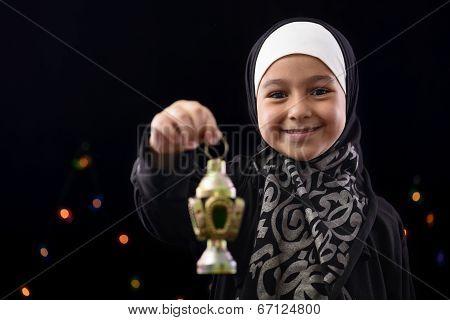 Happy Muslim Girl Celebrating Ramadan