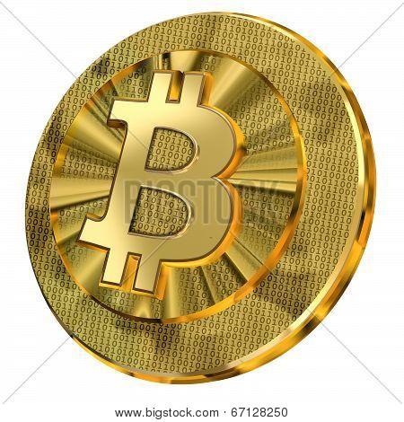 Golden Bitcoin With Binary Code Design