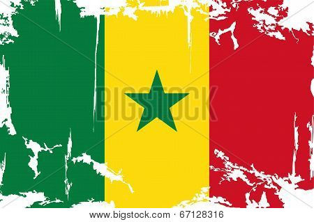 Senegalese grunge flag. Vector illustration