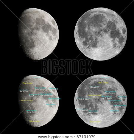 Moon atlas with seas and craters labels - Latin and English names poster