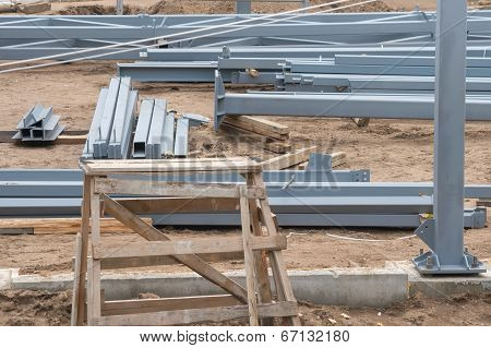 metal building construct site