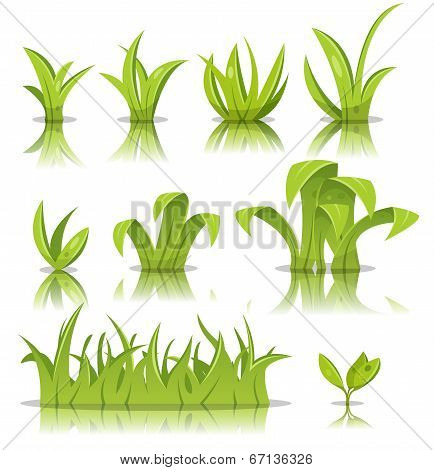 Leaves, Grass And Lawn Set