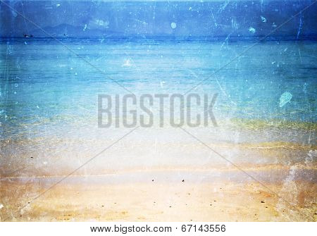 Vintage postcard of beach with copyspace