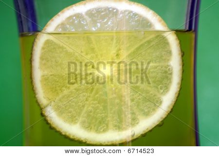 cold drink with lemon