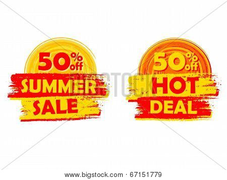 50 Percentages Off Summer Sale And Hot Deal With Sun Signs, Drawn Labels