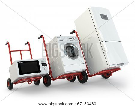 Appliance delivery. Hand truck, fridge, washing machine and microwave oven. 3d