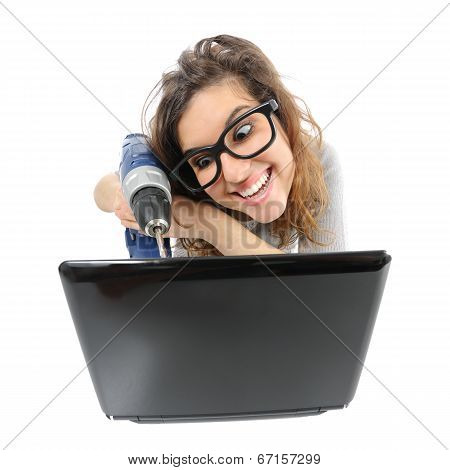 Geek Woman Repairing A Laptop