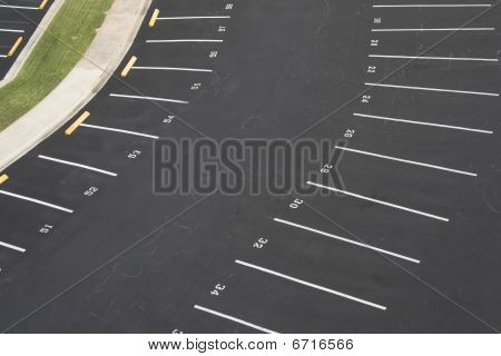 Empty Numbered Parking Lot