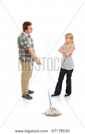 Rebellion against the housework - Father tries to persuade her daughter to help with cleanup but she refuses him. poster
