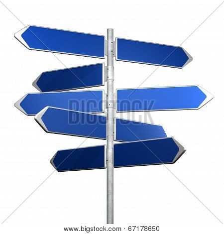 blue directional sign