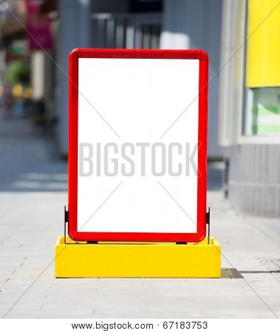 Empty menuboard on a street