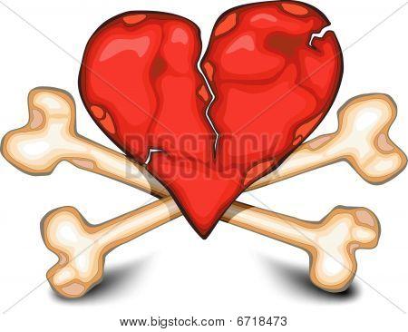 Heart & bones on white