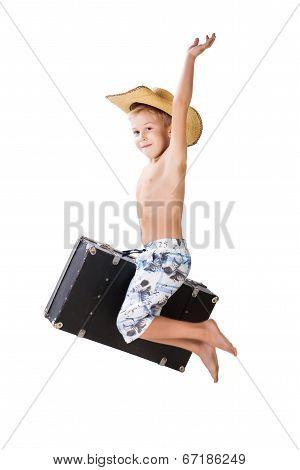 Happy Traveler Boy Jump. Hooray! Vacation!