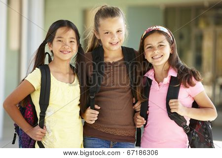 Pre teen girls at school