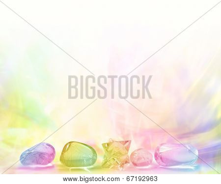 Row of Rainbow Healing Crystals on a pastel gradient rainbow colored background poster