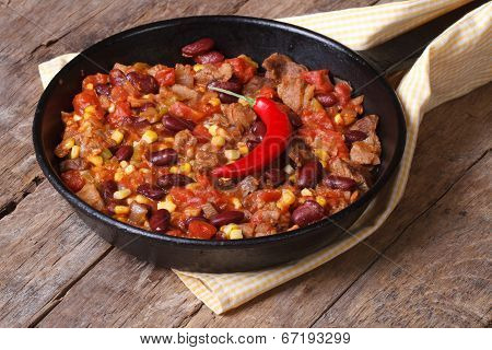 Mexican Food Is Chili Con Carne In A Frying Pan