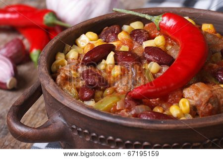 Hot Chili Con Carne In A Tureen Closeup Horizontal