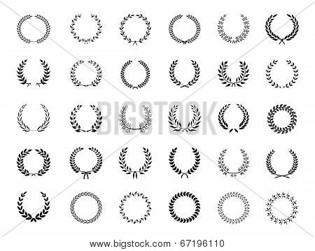 Big collection of black vector laurel wreaths