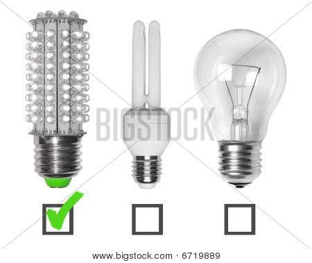 Led Neon And Tungsten Bulbs With Checkboxes