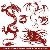 vector set: templates dragons for tattoo and design on different topics poster