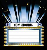 Vintage art deco vector movie marquee with neon lights and floodlight shining up into the night sky with stars and copy space for show dates times and titles available in several different colors and layout in gallery poster