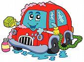 Cartoon car wash on white background - vector illustration. poster