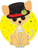 Chihuahua  dressed for New Years with a top hat poster