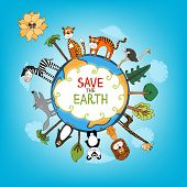 Save The Earth concept with a variety of wild animals surrounding the perimeter of a globe or planet with interspersed fresh green trees for nature conservation   hand-drawn illustration poster