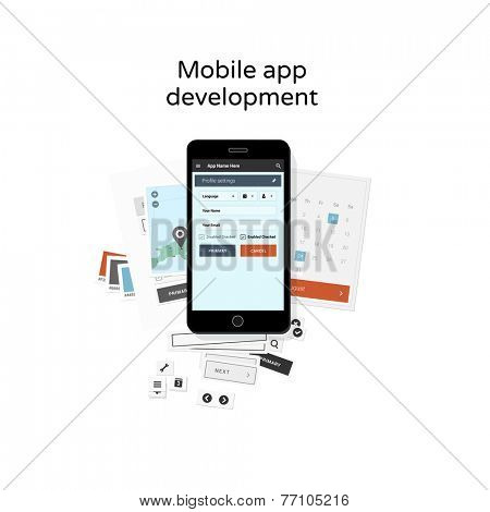 Mobile app development - flat design illustration
