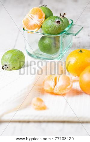 Still Ife With Mandarines And Feijoa Fresh Fruits