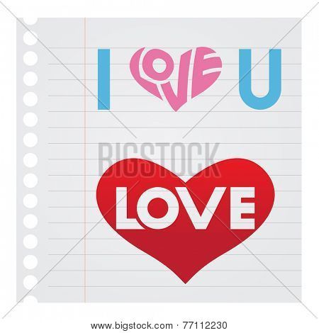 Stock Illustration of I Love You Text on Notebook paper