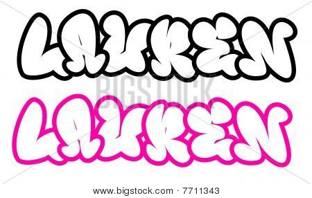 the name Lauren in graffiti style funny bubble fonts