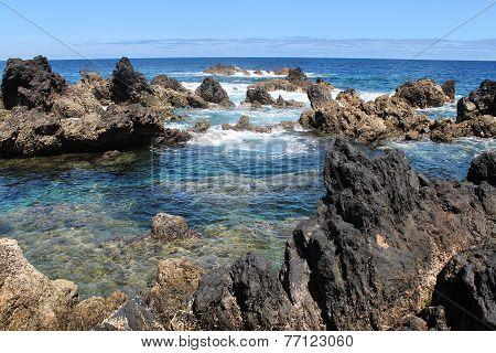 lava pools in the ocean