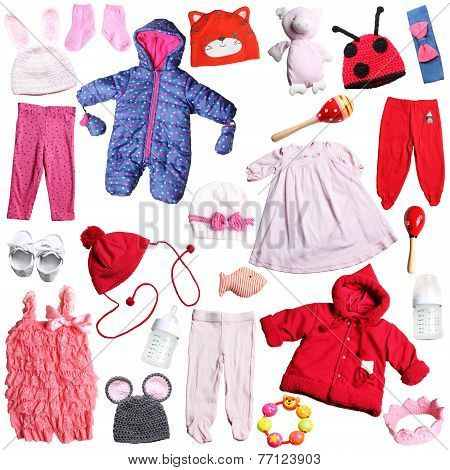 pink and red clothing for newborn girls
