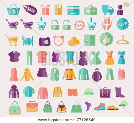 Flat Icons Set Of Fashion Clothing And Shopping Related Vector Icons