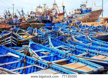 Blue Boats Of Essaouira, Morocco