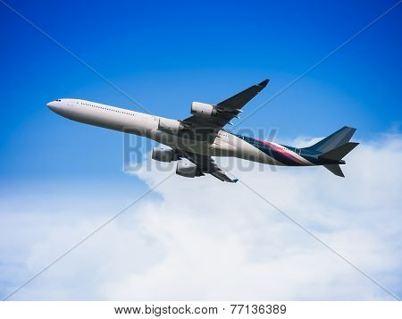 Passenger Airplane Flying In The Sky