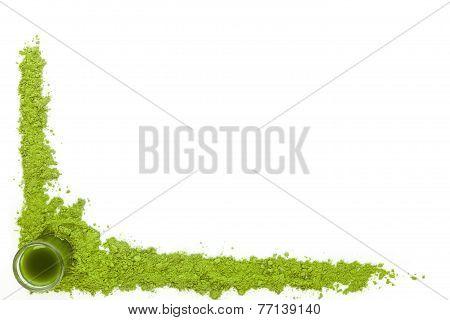 Spirulina, Wheat Grass And Chlorella Background.