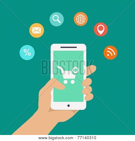 Smartphone apps infographics with a hand holding  phone