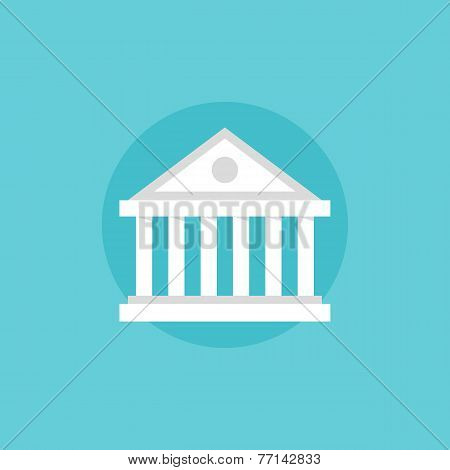 Bank Building Flat Icon Illustration