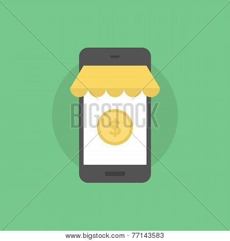 Mobile commerce payment online shopping on smartphone m-commerce service. Flat icon modern design style vector illustration concept. poster