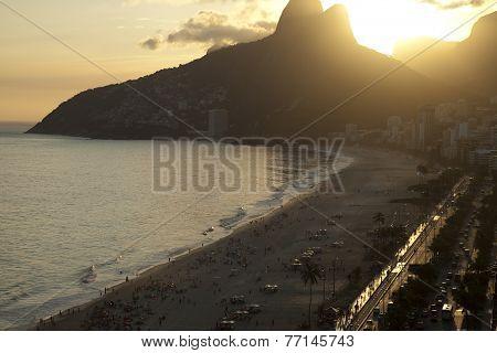 Sunset On Ipanema Beach