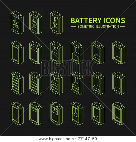 Battery web line icons, symbol, sign and design elements in isometric style. Charge level indicators