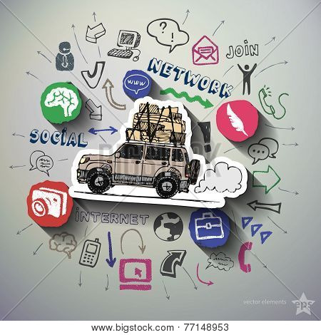 Social media collage with icons background