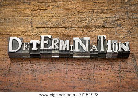 determination  word in mixed vintage metal type printing blocks over grunge wood