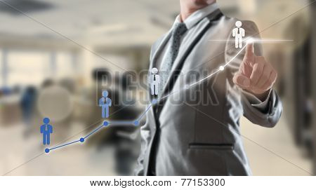 Businessman Working With Digital Visual Object, Human Resource Concept