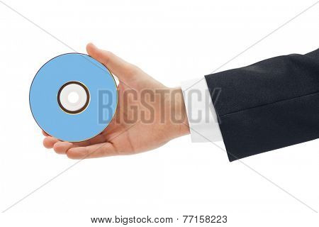Hand with disk isolated on white background