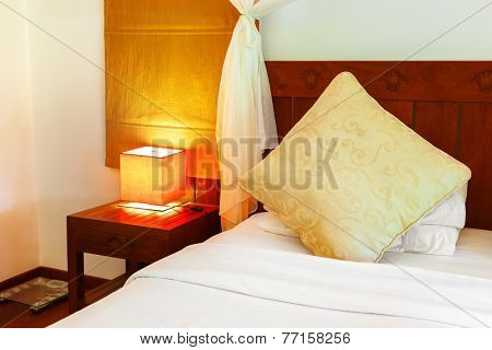 Hotel room at Maldives - vacation concept background poster