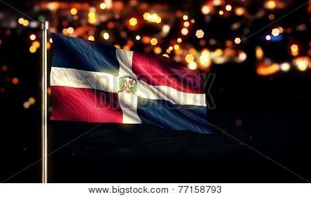 Dominican Republic National Flag City Light Night Bokeh Background 3D