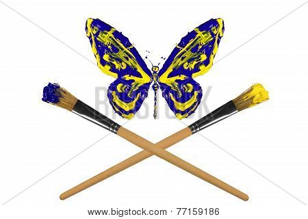 Yellow And Blue Painted Butterfly Hover Above Crossed Paintbrushes